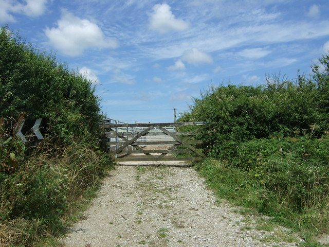 Gated farm track near Treverva