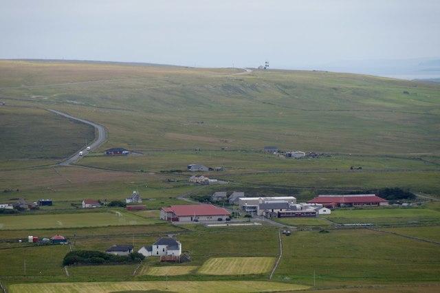 Baltasound school, Unst Leisure Centre and Hillsgarth from Crussa Field
