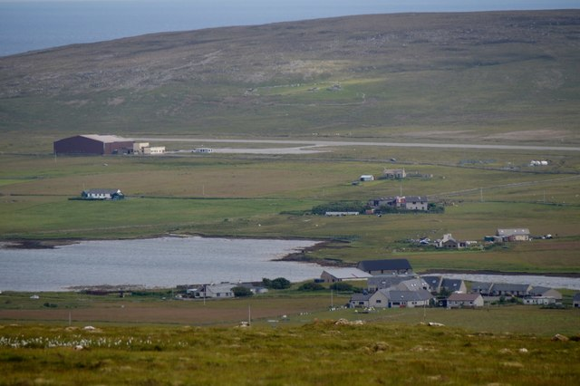 Daisy Park, the head of the voe and the airport, Baltasound, from Crussa Field