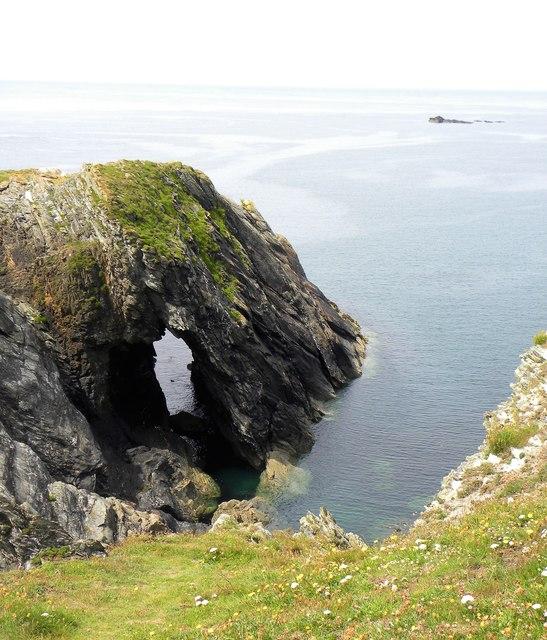 Natural arch, Dinas headland