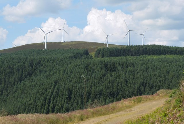 Bowbeat windfarm from Leithenwater Forest