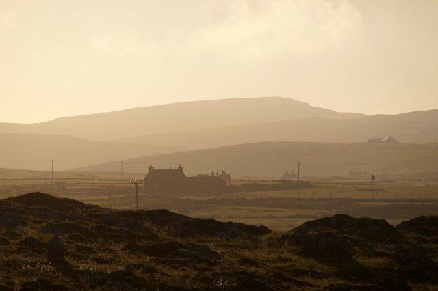 Looking into the westering sun from Setters, Haroldswick