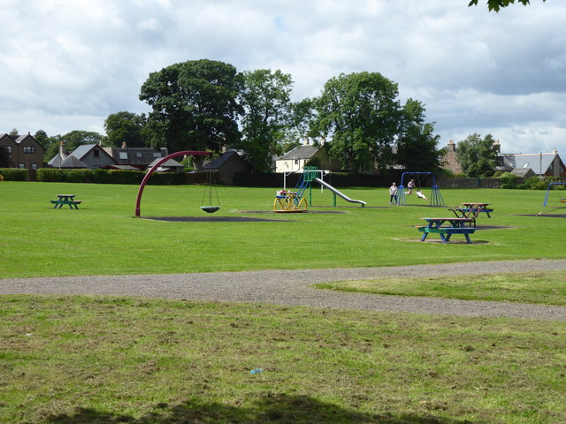 Picnic tables and playground equipment