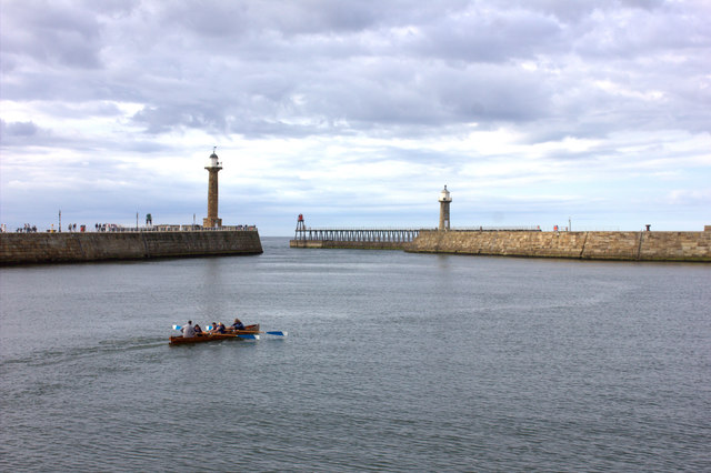 Whitby. Rowing in the estuary