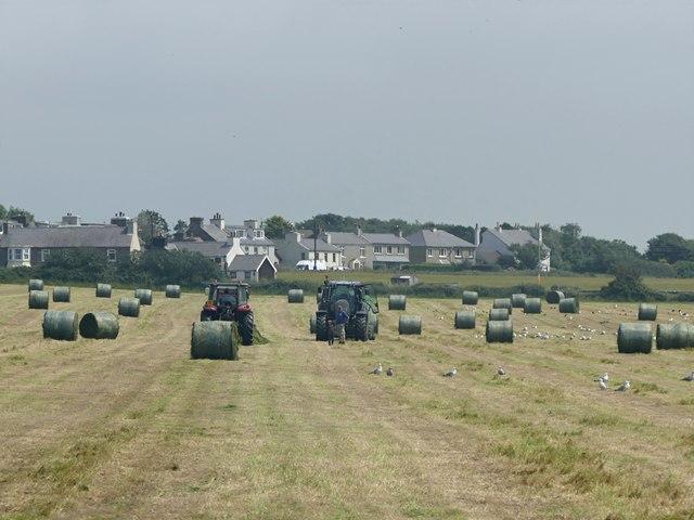 Hay baling near Ballabeg