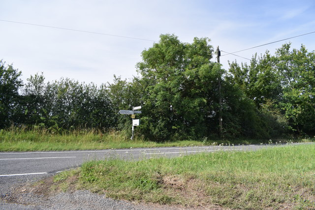 Road junction near Wickham Hall