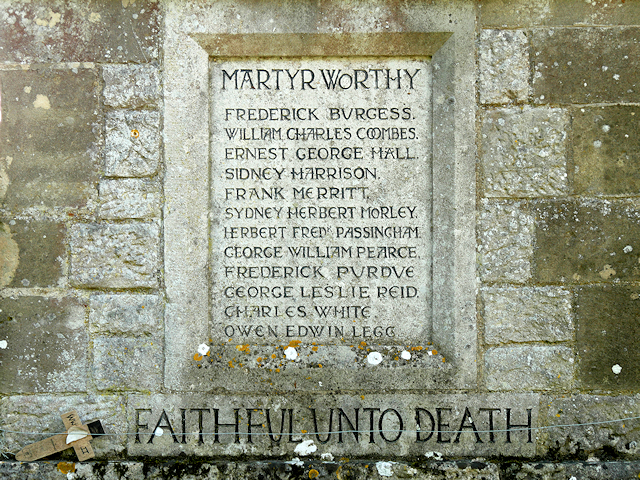 Martyr Worthy War Memorial Roll of Honour (WWI)