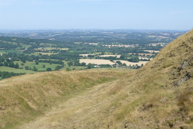 Earthworks near the summit of Herefordshire Beacon