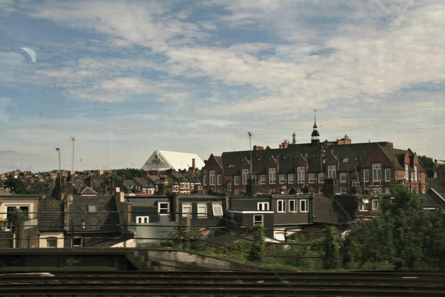 Looking towards Amies Street from the railway in Battersea