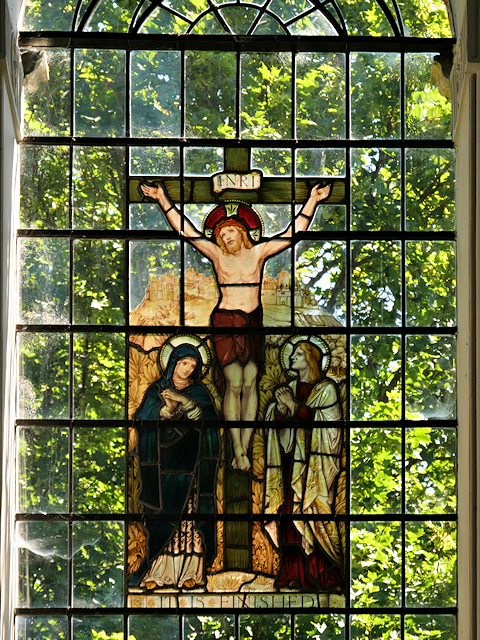 Stained Glass Window Crucifixion Scene, St Mary's Church