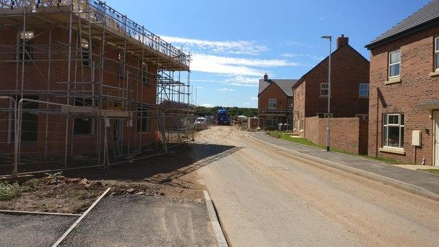 Houses under construction on Henson Close, Whetstone