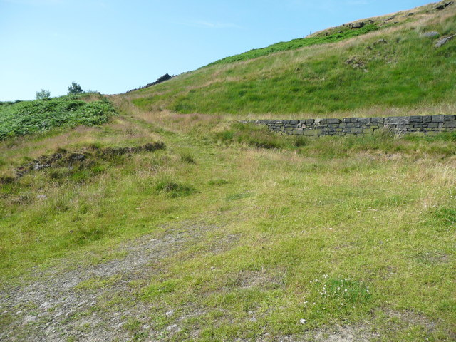 Track up to where Solomon Cutting crosses a ridge, Chelburn Moor