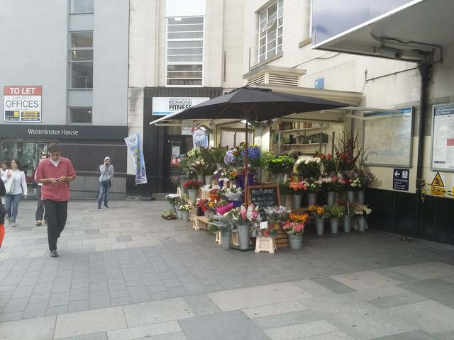 Flower stall outside Richmond Station