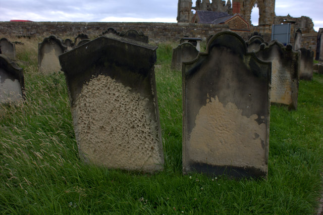 Whitby. Stone erosion in St Mary's graveyard