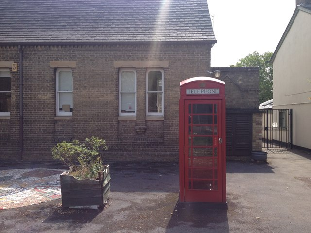 Phone box in school grounds