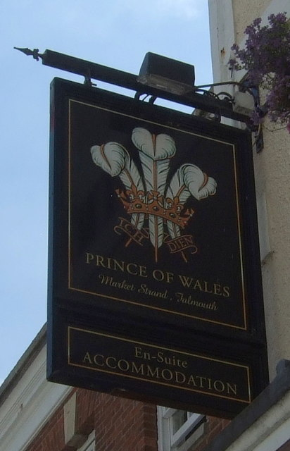 Sign for the Prince of Wales Hotel, Falmouth