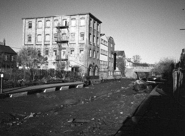 Former factories and a drained canal