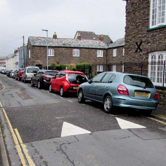 On-street parking and speed bumps, Trinity Street, Barnstaple