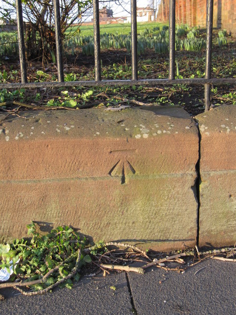 Bench mark in West Derby Road outside Grant Gardens