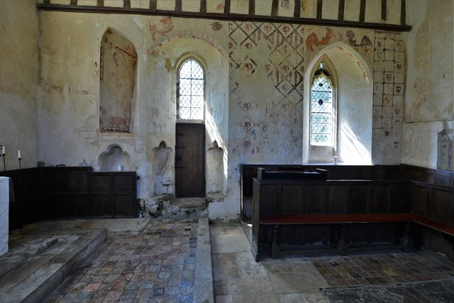 Hailes Old Church: South wall with its early c14th wall paintings