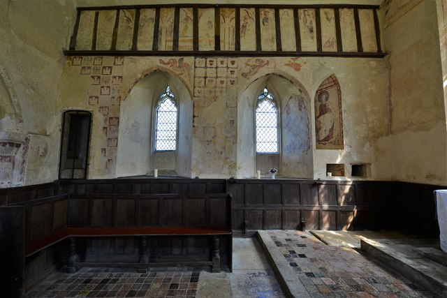 Hailes Old Church: North wall with its early c14th wall paintings