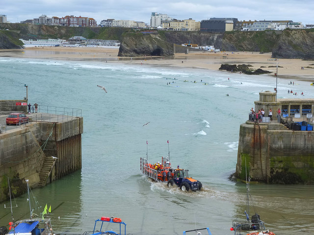 Practice Launch of Lifeboat at Newquay Harbour