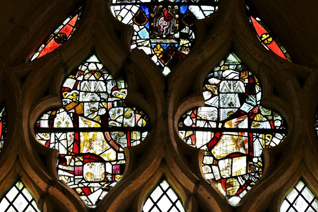 Hailes Old Church: East window with medieval glass 1