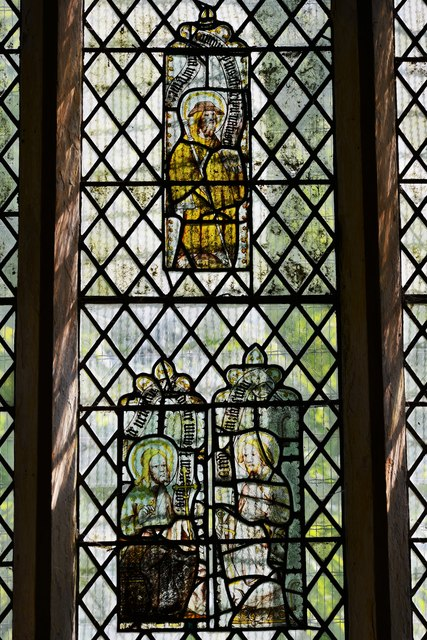 Hailes Old Church: East window with medieval glass 2