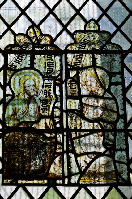 Hailes Old Church: East window with medieval glass 4