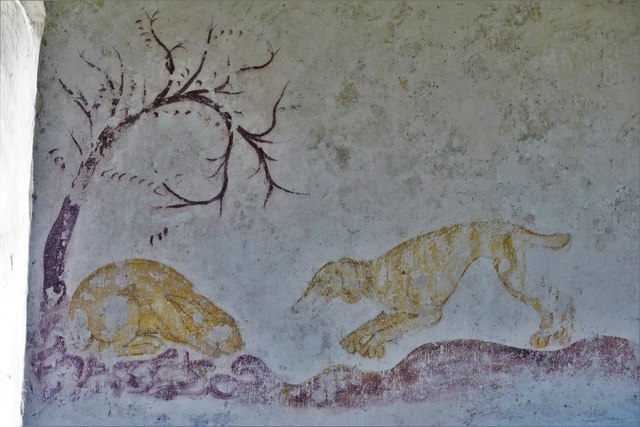 Hailes Old Church: Early c14th wall painting, huntsman and three hounds chasing hare 1