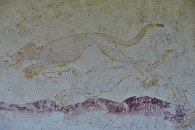 Hailes Old Church: Early c14th wall painting, huntsman and three hounds chasing hare 2