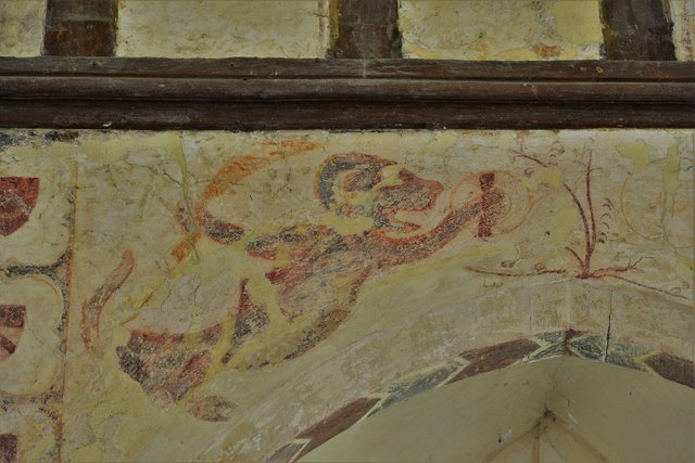 Hailes Old Church: Early c14th wall painting, medieval mythical beastie 1