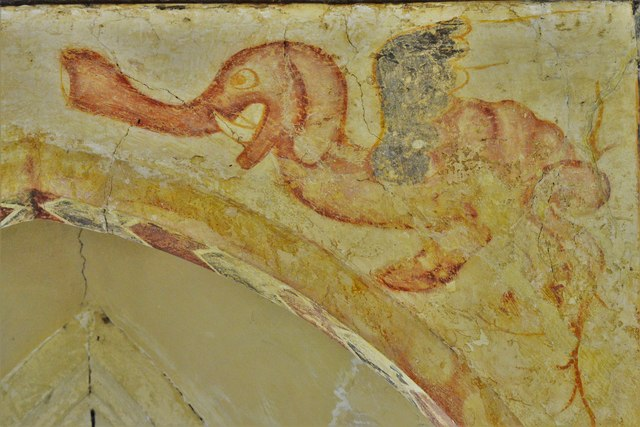 Hailes Old Church: Early c14th wall painting, medieval mythical beastie 3