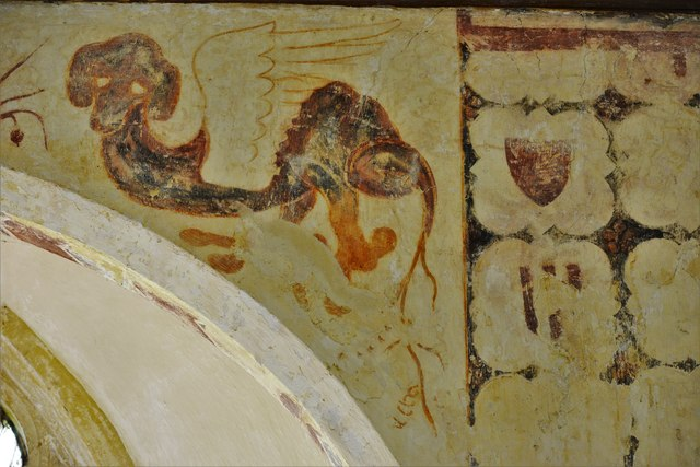 Hailes Old Church: Early c14th wall painting, medieval mythical beastie 5