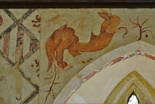 Hailes Old Church: Early c14th wall painting, medieval mythical beastie 6