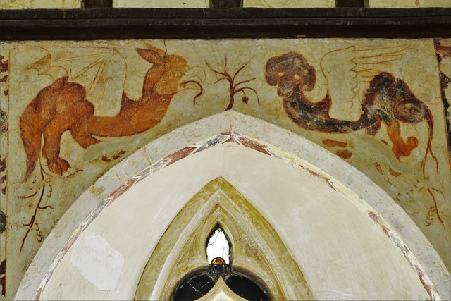 Hailes Old Church: Early c14th wall painting, medieval mythical beastie 7