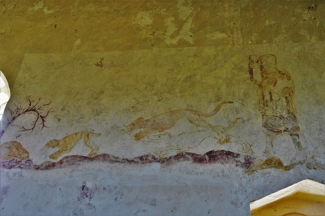 Hailes Old Church: Early c14th wall painting, huntsman and three hounds chasing hare 4