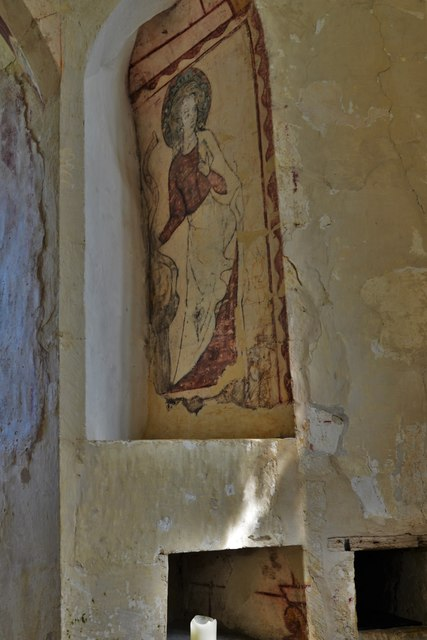 Hailes Old Church: Early c14th wall painting, St. Catherine of Alexandria 1