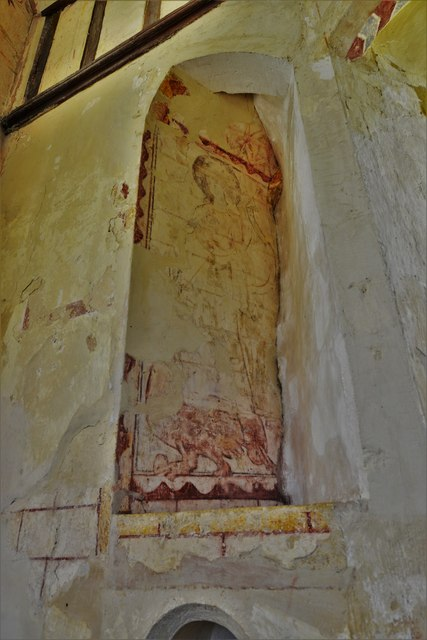 Hailes Old Church: Early c14th wall painting, St. Margaret of Antioch