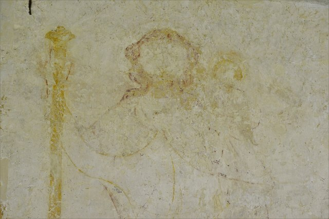 Hailes Old Church: Early c14th wall painting, St. Christopher with the infant Christ on his shoulder