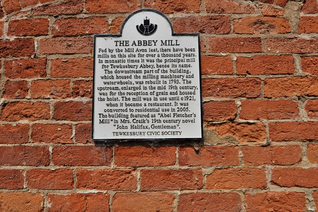 Tewkesbury: Abbey Mill information plaque