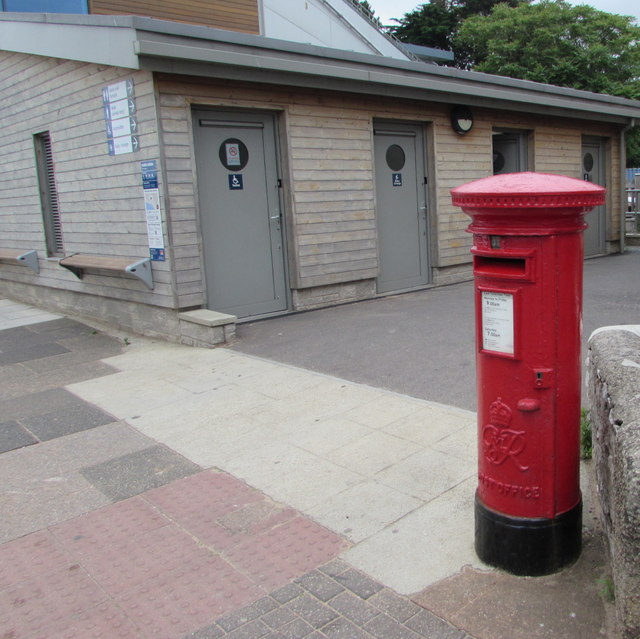 King George VI pillarbox near public toilets, Queen's Drive, Exmouth