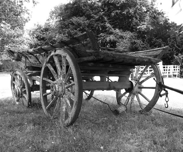 An old farm waggon - rear view
