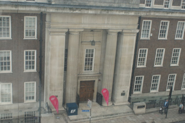 View of Drayton House (UCL Department of Economics) on Gordon Street from the Wellcome Collection