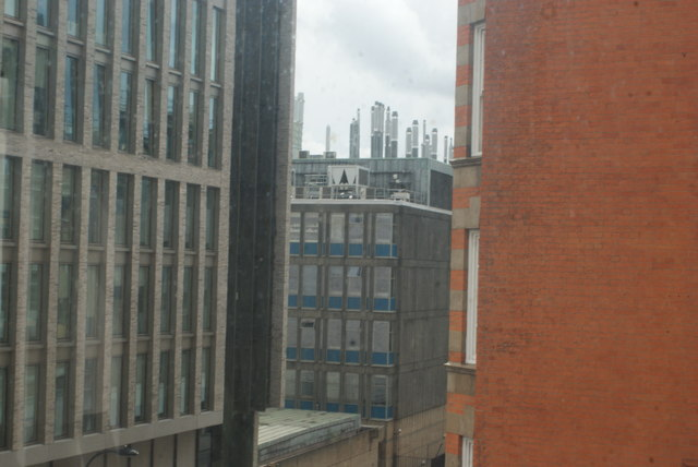 View of the UCL Department of Chemistry building on Gordon Street from the Reading Room of the Wellcome Collection