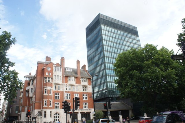 View of Euston Fire Station and 160 Euston Road from the junction with Upper Woburn Place