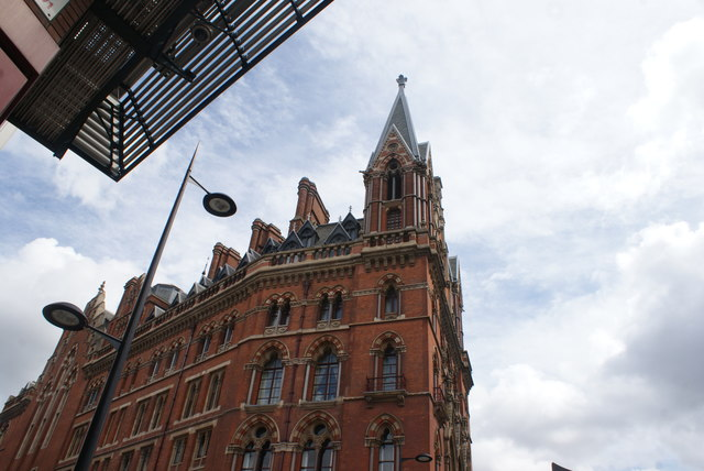 Looking up at St. Pancras Station from Euston Road