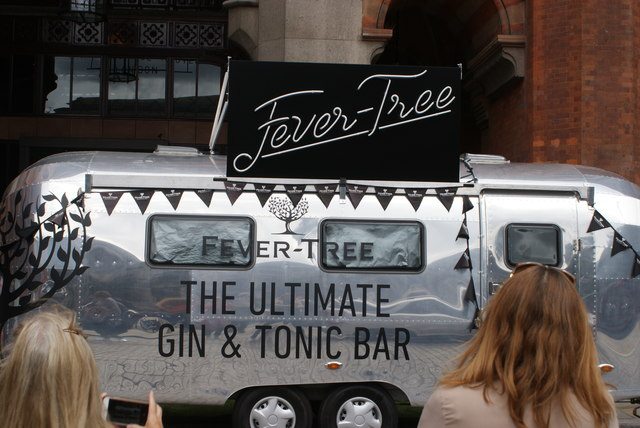 View of the Fever Tree Gin & Tonic Bar outside the St. Pancras Renaissance Hotel