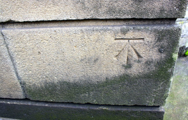 Benchmark on tower beside Grove Library, Great Horton Road