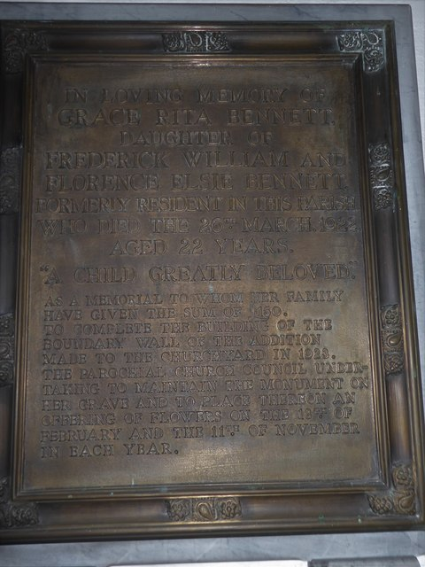 St Mary, Yatton: memorial (a)